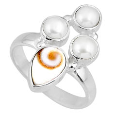 925 sterling silver 6.95cts natural white shiva eye pearl ring size 8.5 r58417