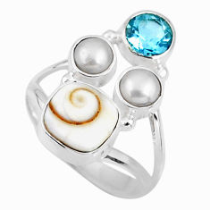 925 sterling silver 6.25cts natural white shiva eye topaz ring size 8 r57556