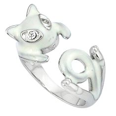 925 sterling silver natural white topaz enamel adjustable ring size 6.5 c22871