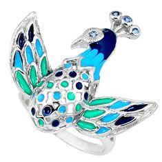925 sterling silver natural white topaz enamel peacock ring size 8 c16813