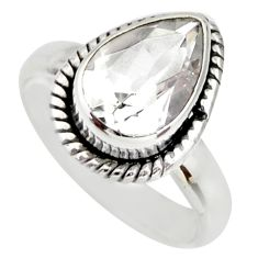 925 sterling silver 2.44cts natural white topaz solitaire ring size 5 r26371
