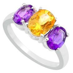 925 sterling silver 5.22cts natural yellow citrine amethyst ring size 8 r71268
