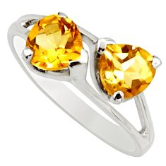 925 sterling silver 2.96cts natural yellow citrine heart ring size 7.5 r25638