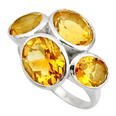 925 sterling silver 12.71cts natural yellow citrine ring jewelry size 8.5 r25767