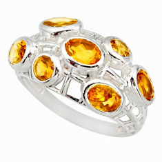 925 sterling silver 5.52cts natural yellow citrine ring jewelry size 8 r25707