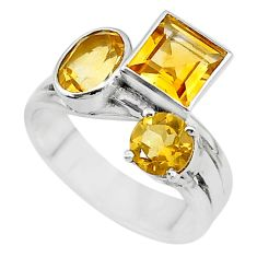 925 sterling silver 5.80cts natural yellow citrine ring jewelry size 9 t10396