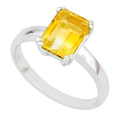 925 sterling silver 2.58cts natural yellow citrine solitaire ring size 7 t7660