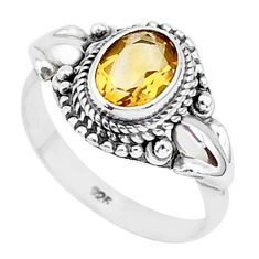 925 sterling silver 2.00cts natural yellow citrine solitaire ring size 8 r93878