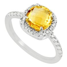 925 sterling silver 4.17cts natural yellow citrine zircon ring size 7 r71246