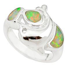 925 sterling silver pink australian opal (lab) enamel ring size 5.5 c25859