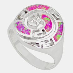 925 sterling silver pink australian opal (lab) enamel ring size 8.5 c26143