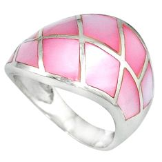 925 sterling silver pink blister pearl enamel ring jewelry size 5.5 c12988