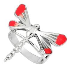 925 sterling silver 4.02gms pink coral enamel dragonfly ring size 6 c12226