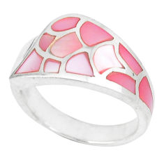 925 sterling silver pink pearl enamel ring jewelry size 7.5 a46546 c13327