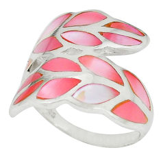 925 sterling silver pink pearl enamel ring jewelry size 6.5 a49435 c13042