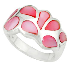925 sterling silver pink pearl enamel ring jewelry size 6.5 a49493 c13333
