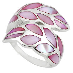 925 sterling silver pink pearl enamel ring jewelry size 7 a64426 c13049