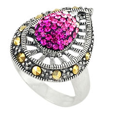 925 sterling silver pink topaz quartz marcasite ring jewelry size 5.5 c26092