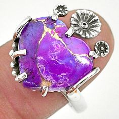 925 sterling silver 10.76cts purple copper turquoise flower ring size 8.5 t6414