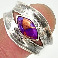 925 sterling silver 2.23cts purple copper turquoise ring jewelry size 7 r36987
