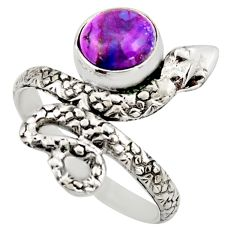 925 sterling silver 3.14cts purple copper turquoise snake ring size 9 d46248