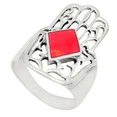 925 sterling silver red coral enamel hand of god hamsa ring size 7 c26157