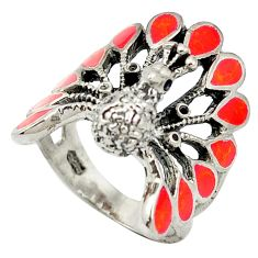 925 sterling silver red coral enamel peacock ring jewelry size 6.5 c11896