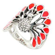 925 sterling silver red coral enamel peacock ring jewelry size 6.5 c12389