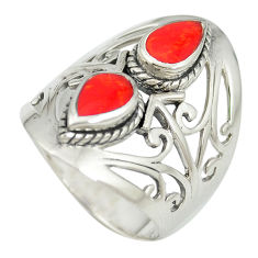 925 sterling silver red coral enamel ring jewelry size 6.5 c12314
