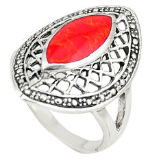 925 sterling silver red coral enamel ring jewelry size 8.5 c22324
