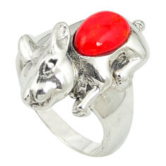 925 sterling silver red coral fancy shape ring jewelry size 6 c12051