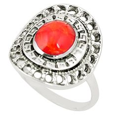 925 sterling silver red coral oval ring jewelry size 5.5 c12265