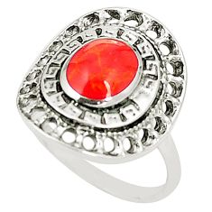 925 sterling silver red coral oval shape ring jewelry size 6.5 c12276