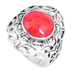 925 sterling silver 4.06cts red coral round ring jewelry size 5.5 c26159