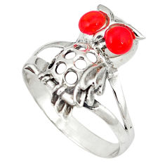 925 sterling silver red coral round shape owl ring jewelry size 8.5 c12248