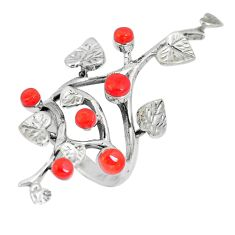 925 sterling silver 2.76cts red coral round shape ring jewelry size 6 c12713