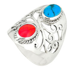 925 sterling silver red coral turquoise ring jewelry size 7.5 c11952
