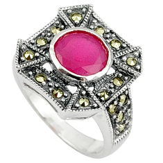 925 sterling silver red faux ruby fine marcasite ring jewelry size 6 c17324