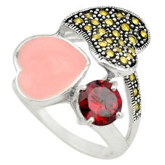 925 sterling silver red garnet quartz marcasite ring size 8 c18280