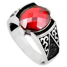 925 sterling silver red garnet quartz oval topaz mens ring size 11 c11509