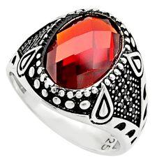 925 sterling silver 6.31cts red garnet quartz oval topaz mens ring size 11 c9799