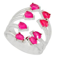 925 sterling silver 3.63cts red ruby (lab) adjustable ring jewelry size 5 c9148