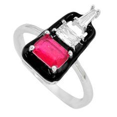 925 sterling silver 3.40cts red ruby (lab) enamel ring jewelry size 9 c20484
