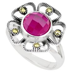 925 sterling silver 3.41cts red ruby (lab) marcasite ring size 8 a93590 c24864