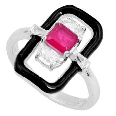 925 sterling silver 2.56cts red ruby (lab) topaz black enamel ring size 7 c19316