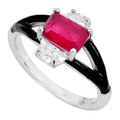 925 sterling silver 2.93cts red ruby (lab) topaz enamel ring size 6 c20046