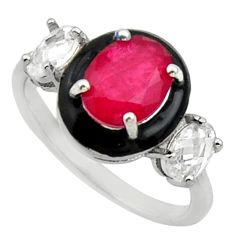 925 sterling silver 5.58cts red ruby (lab) topaz enamel ring size 8 c10024