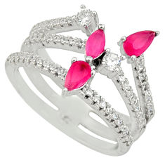 925 sterling silver 3.41cts red ruby (lab) topaz ring jewelry size 6.5 c9155