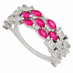 925 sterling silver 2.78cts red ruby (lab) topaz ring jewelry size 7 c9180