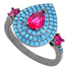 925 sterling silver 5.07cts red ruby (lab) turquoise ring jewelry size 6 c21900